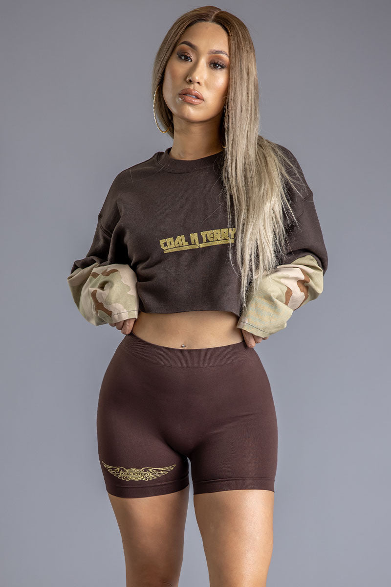 CHOCOLATE N SAND CAMO CNT REBEL CROP CREW
