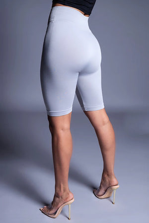 BASIC LONG BIKER SHORTS - LIGHT GREY