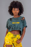 GREEN N YELLOW MINI MEDI CROP TEE - DIS