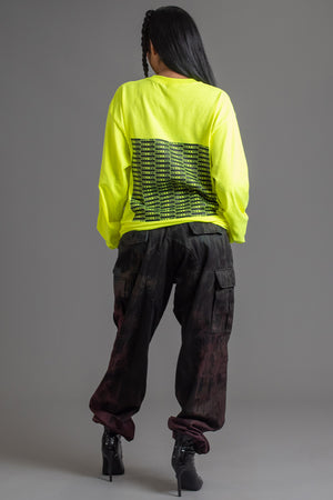 NEON YELLOW N BLK FULL CHECKER LONG SLEEVE TEE