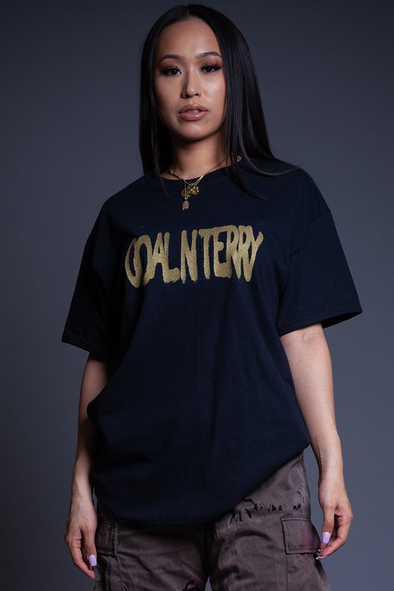 BLK N GOLD SPRAY CNT TEE