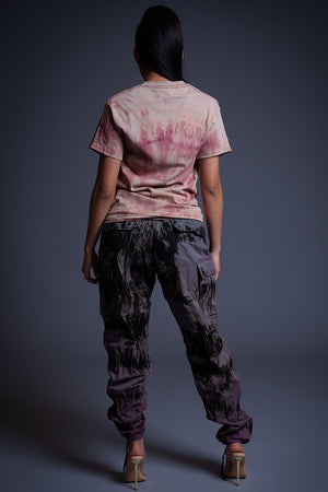 SMEARED DYE LACE UP TEE