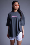 DARK GREY N PINK MINI MEDI TEE