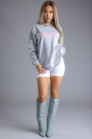 LONG SLEEVE LIGHT GREY N PINK BURBS TEE (DIS)