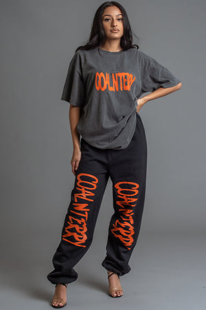 DARK GREY N ORANGE SPRAY CNT TEE