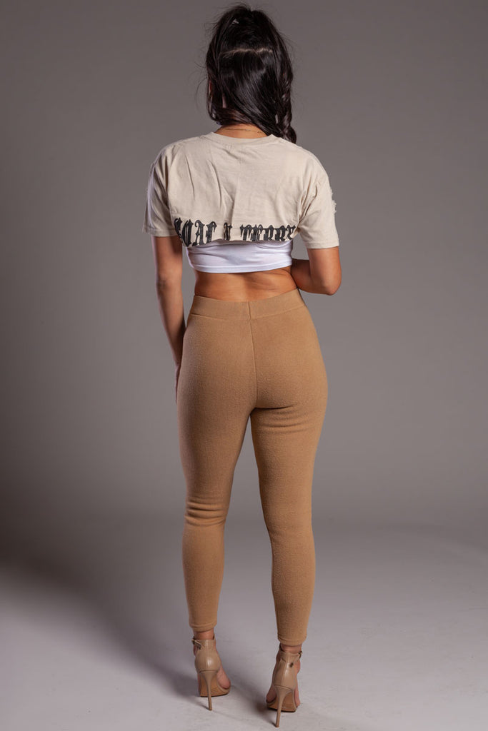Sand N Black Back Medi Crop Tee