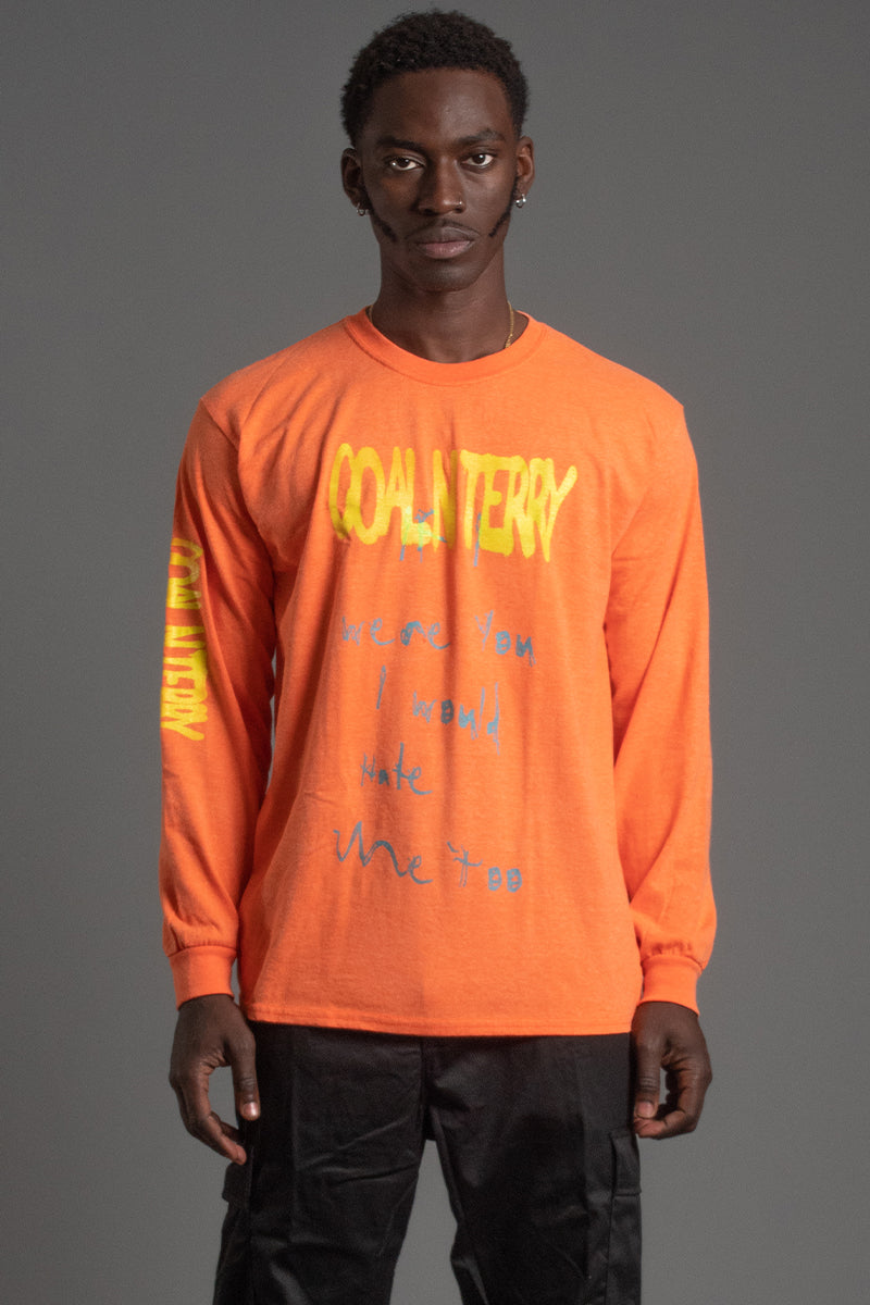 GUYS LONG SLEEVE ORANGE HATE ME TEE