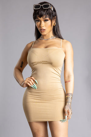 SAND N GOLD CNT BAR DRESS