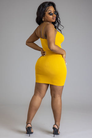 YELLOW N BLACK MINI MEDI DRESS