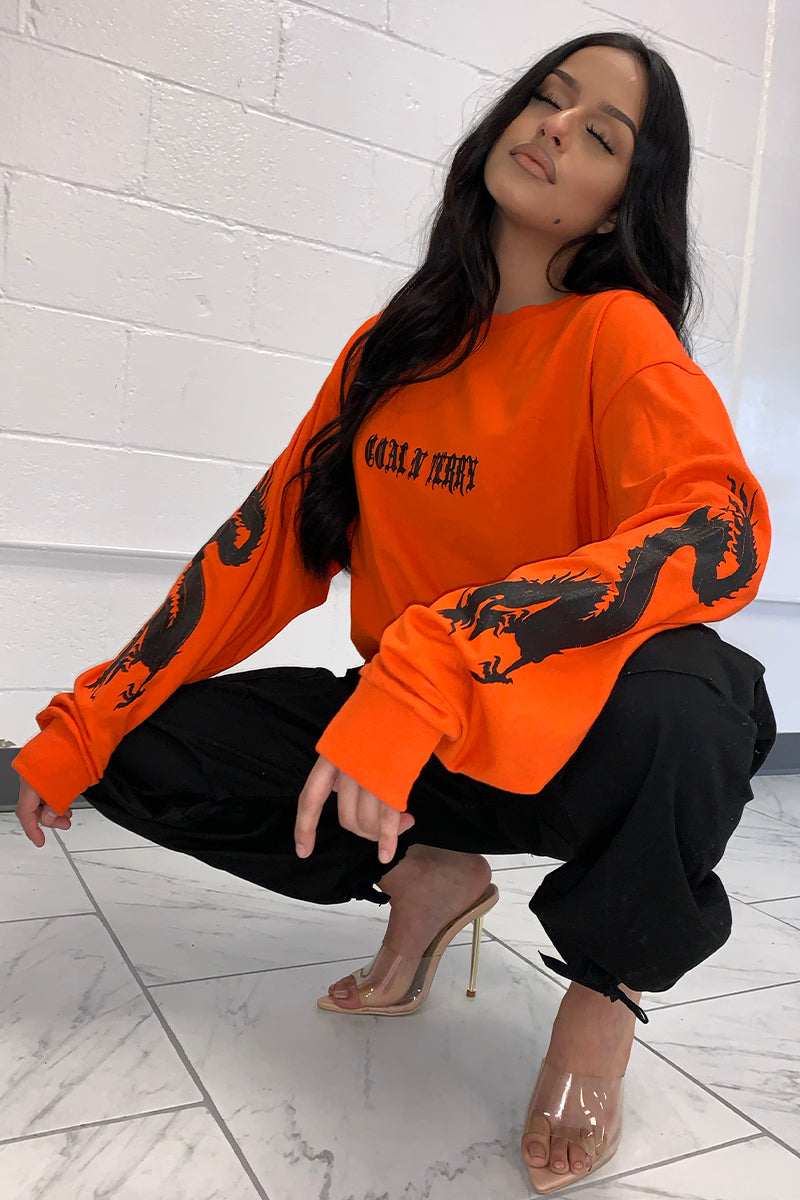 LONG SLEEVE ORANGE N BLK MINI MEDI DRAGON TEE
