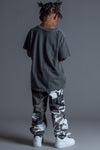 KIDS DARK GREY N WHITE FTB TEE