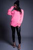 PINK N BLK LONG SLEEVE NEVER EXPLAIN TEE