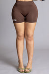 CHOCOLATE N WHITE MINI MEDI BIKER SHORTS
