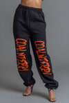 BLK N ORANGE DOUBLE CNT OVERLAY JOGGER