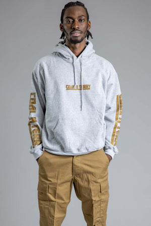 GUYS LIGHT GREY N CHOCOLATE CNT REBEL SLEEVE HOODIE