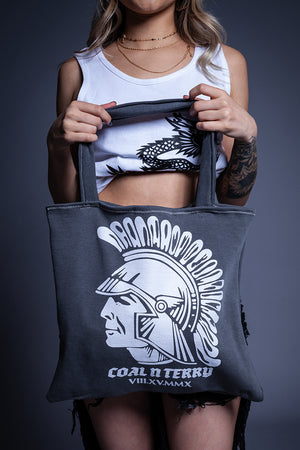 DARK GREY N WHITE TROJAN TOTE BAG