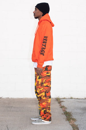 GUYS ORANGE N BLK TRAP HOODIE