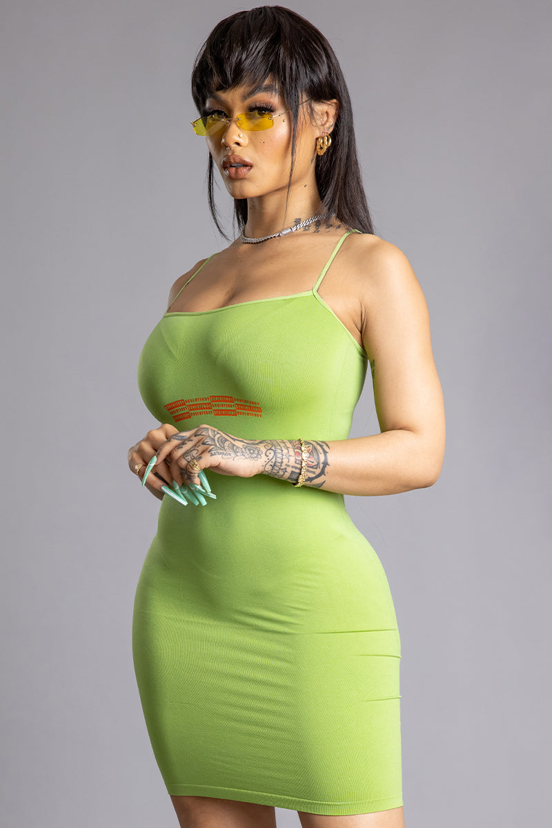 NEON GREEN N ORANGE CNT BAR DRESS