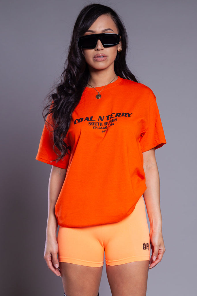 NEON ORANGE N BLK BURBS TEE