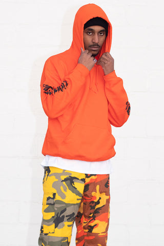 GUYS WHITE N ORANGE TRAP HOODIE