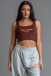 CHOCOLATE N ORANGE BURBS CROP TANK