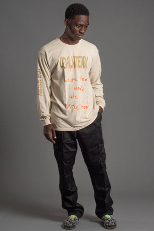 GUYS LONG SLEEVE SAND HATE ME TEE