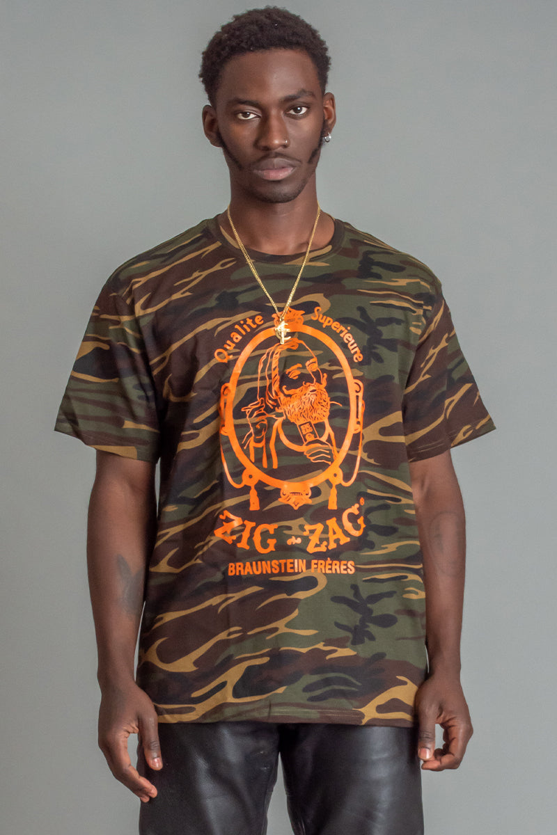 GUYS CAMO N ORANGE ZIG ZAG TEE