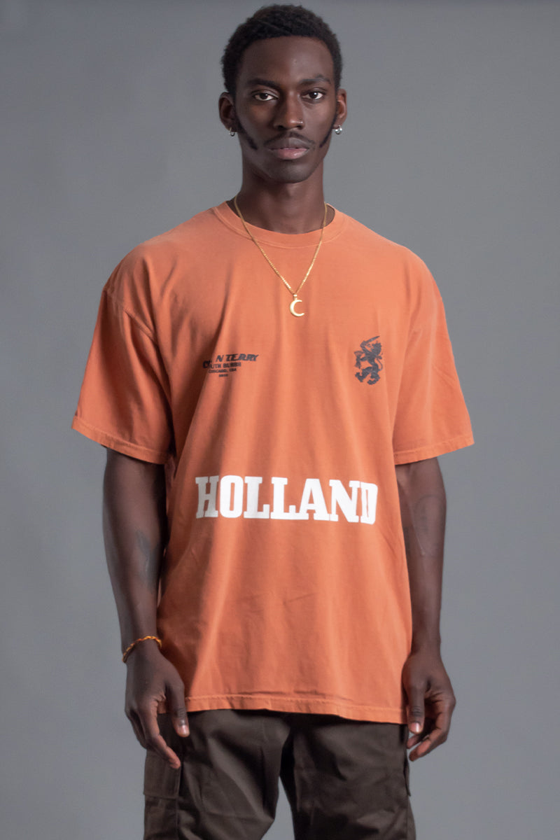 GUYS BURNT ORANGE TEAM HOLLAND TEE