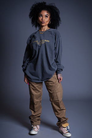LONG SLEEVE DARK GREY N GOLD BURBS TEE