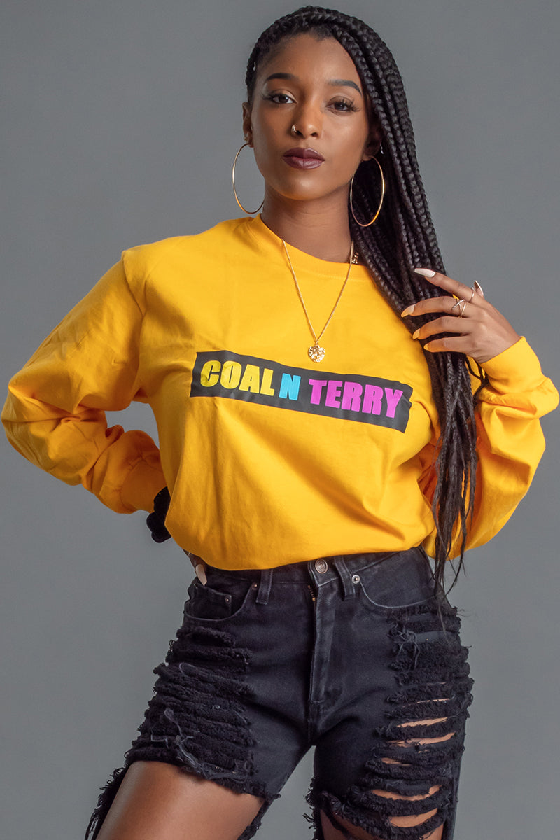 LONG SLEEVE YELLOW MULTI BAR TEE
