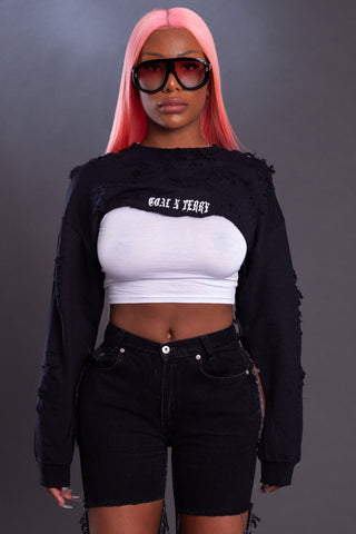 DARK GREY N WHITE BAR CROP TEE - DIS