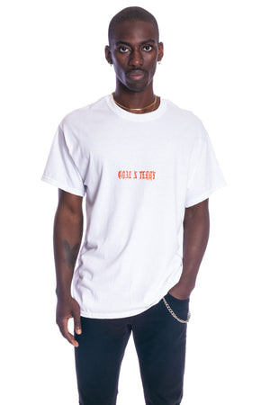 WHITE N ORANGE MINI MEDI TEE