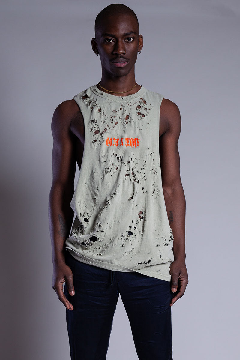 ASH N ORANGE MINI MEDI TANK - DISTRESSED
