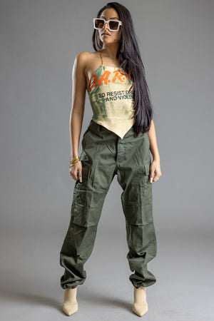 GREEN ACID DARE CHAIN HALTERED TOP