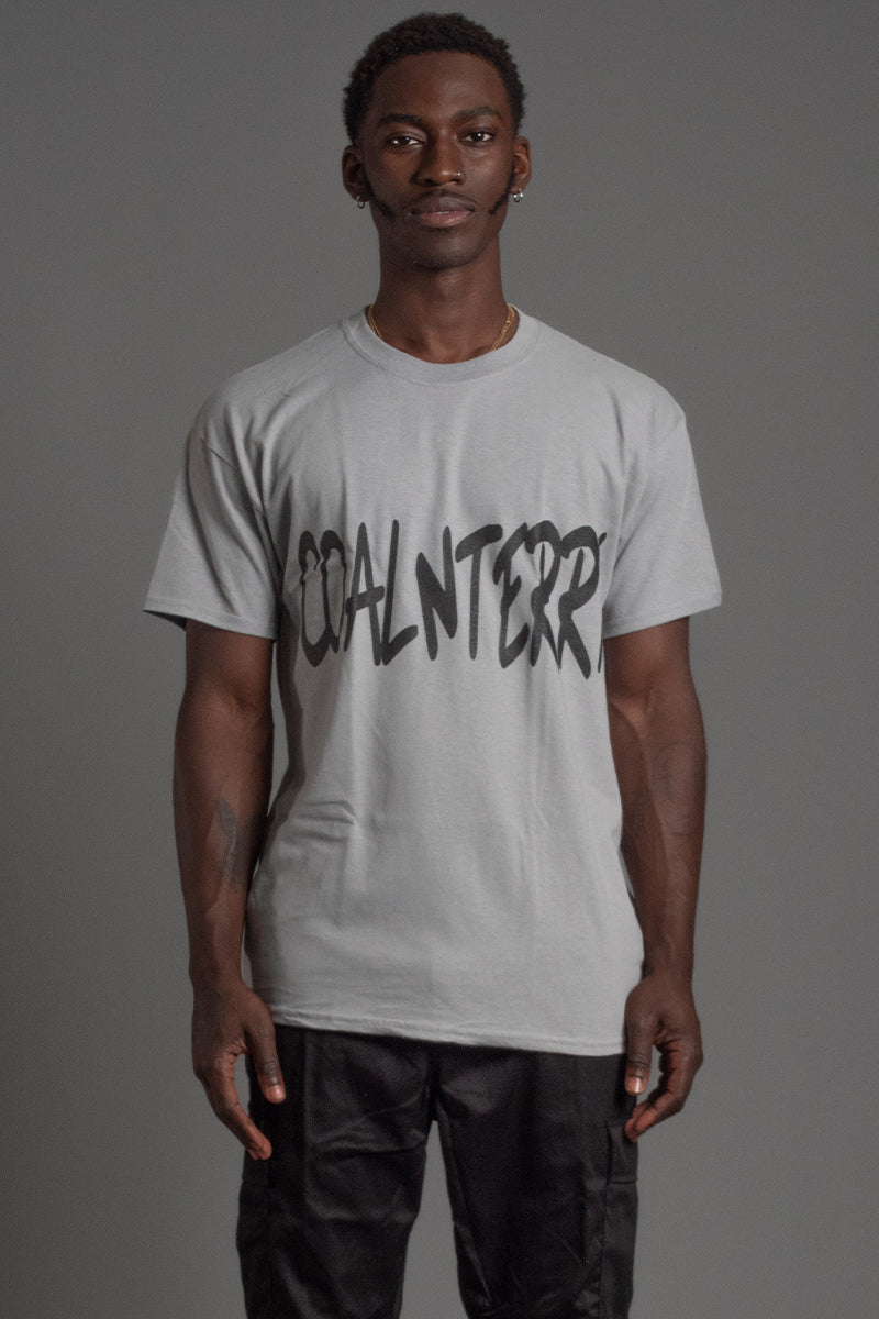 GUYS LIGHT GREY N BLK CNT OVERLAY TEE
