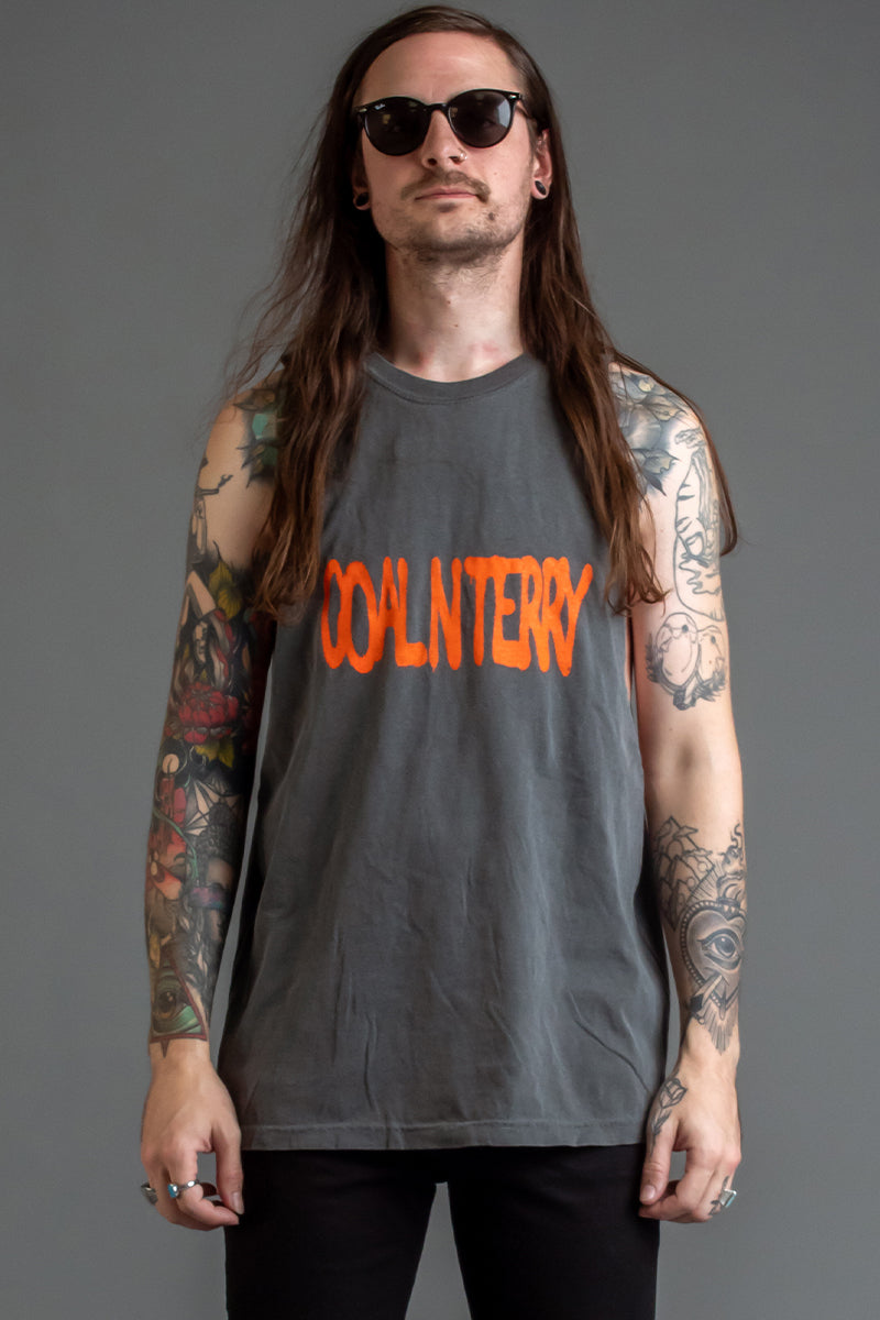 GUYS DARK GREY N ORANGE SPRAY TANK