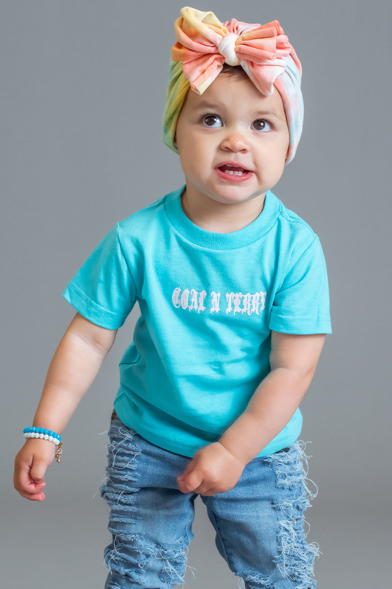 INFANT LIGHT BLUE N WHITE MINI MEDI TEE