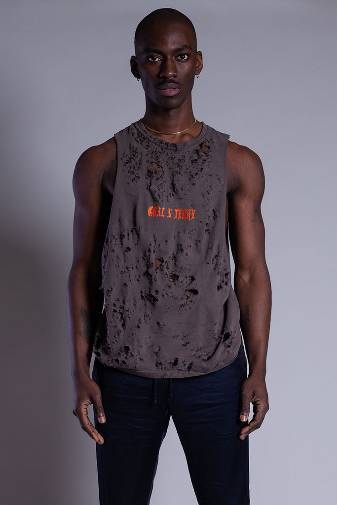 CHOCOLATE N ORANGE MINI MEDI TANK - DISTRESSED