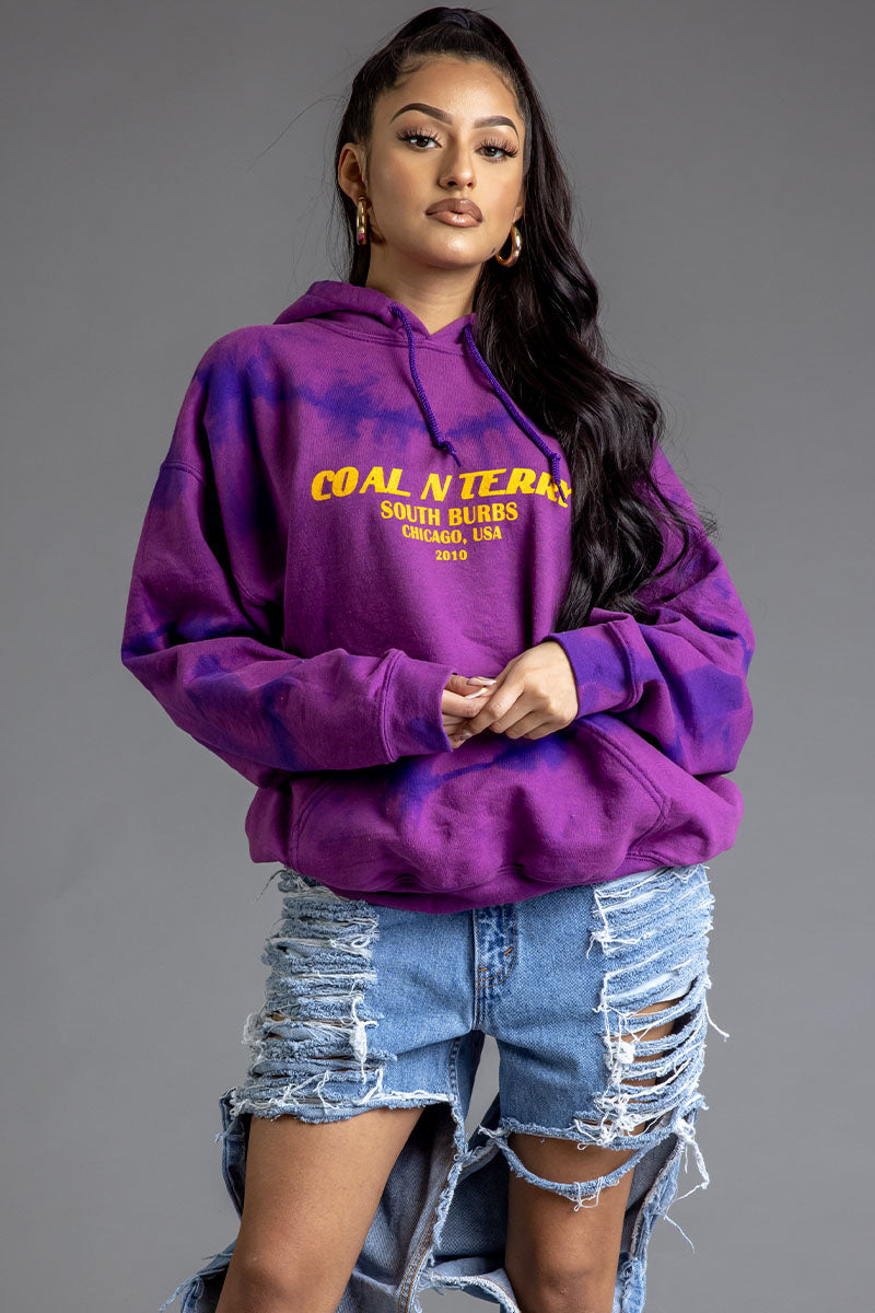 GRAPE DYED N YELLOW BURBS HOODIE