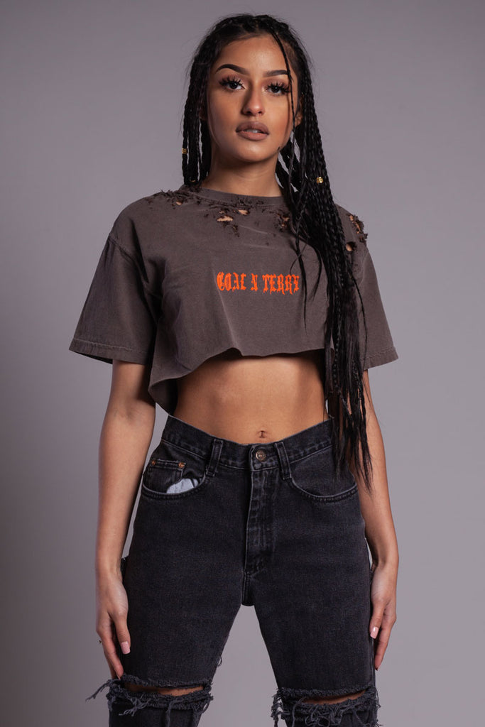 BROWN N ORANGE MINI MEDI CROP TEE