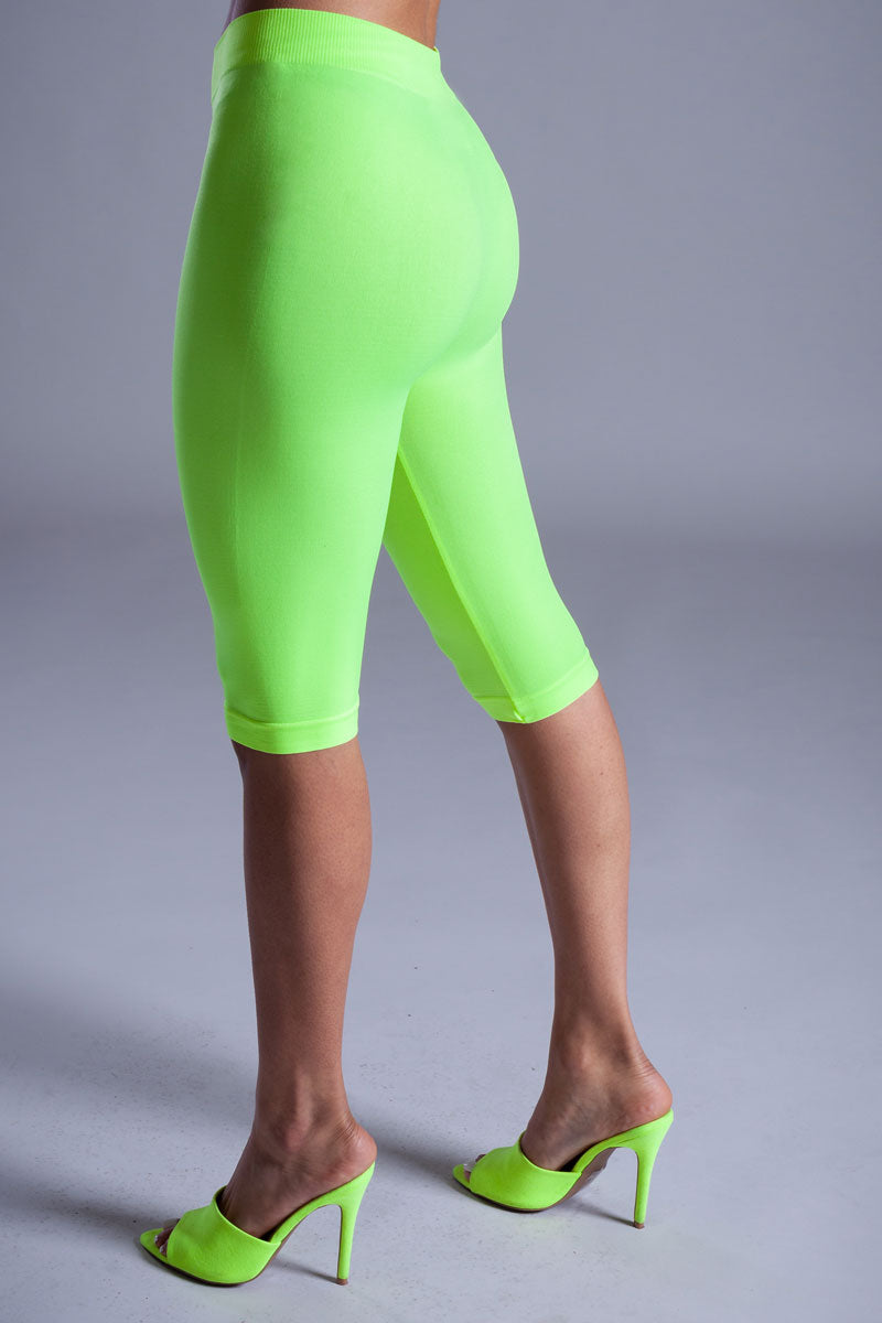 BASIC LONG BIKER SHORTS - NEON GREEN