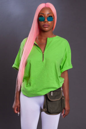 CNT ZIPPER TEE - LIME GREEN
