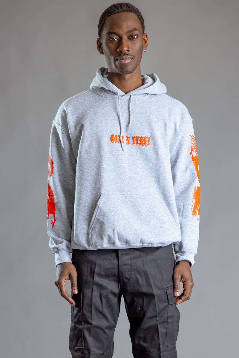 GUYS LIGHT GREY N ORANGE MINI MEDI DRAGON HOODIE