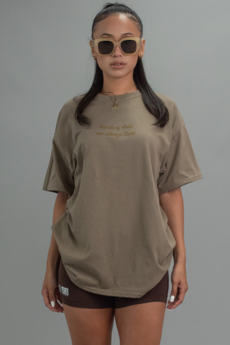 MOCHA N GOLD HANDS OF GOLD TEE