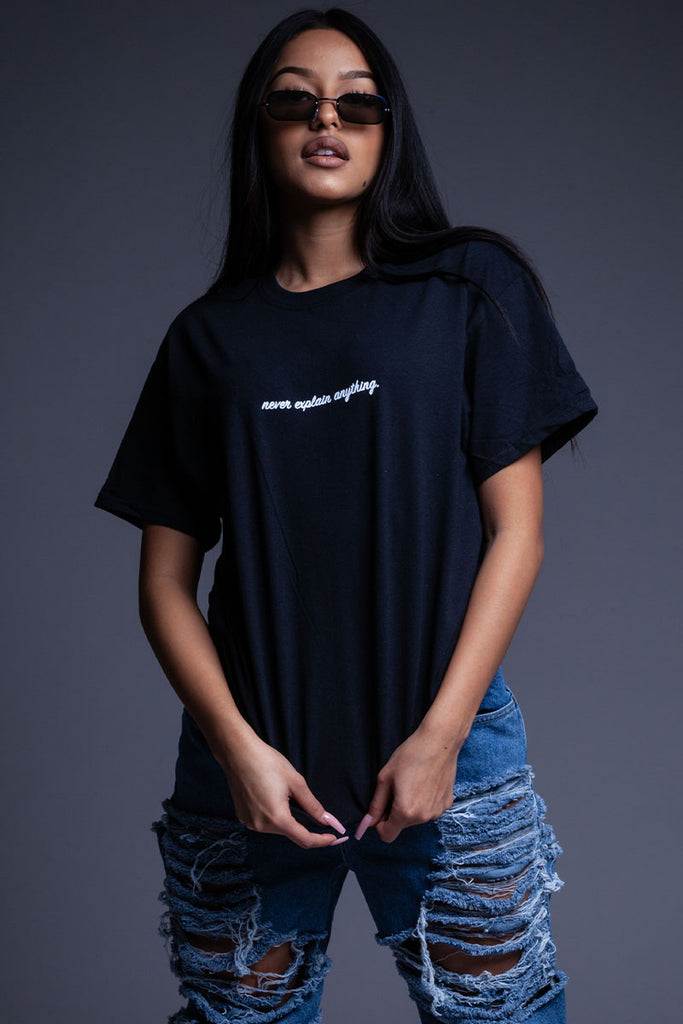 BLK NEVER EXPLAIN TEE
