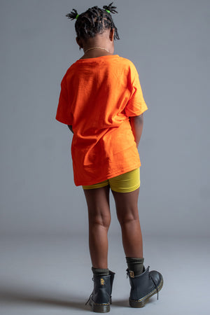 KIDS ORANGE N BLK MINI MEDI TEE