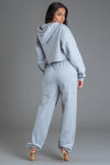 LIGHT GREY N BLUE CNT OVERLAY CROP HOODIE
