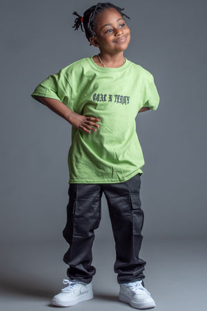 KIDS GREEN N BLK MINI MEDI TEE