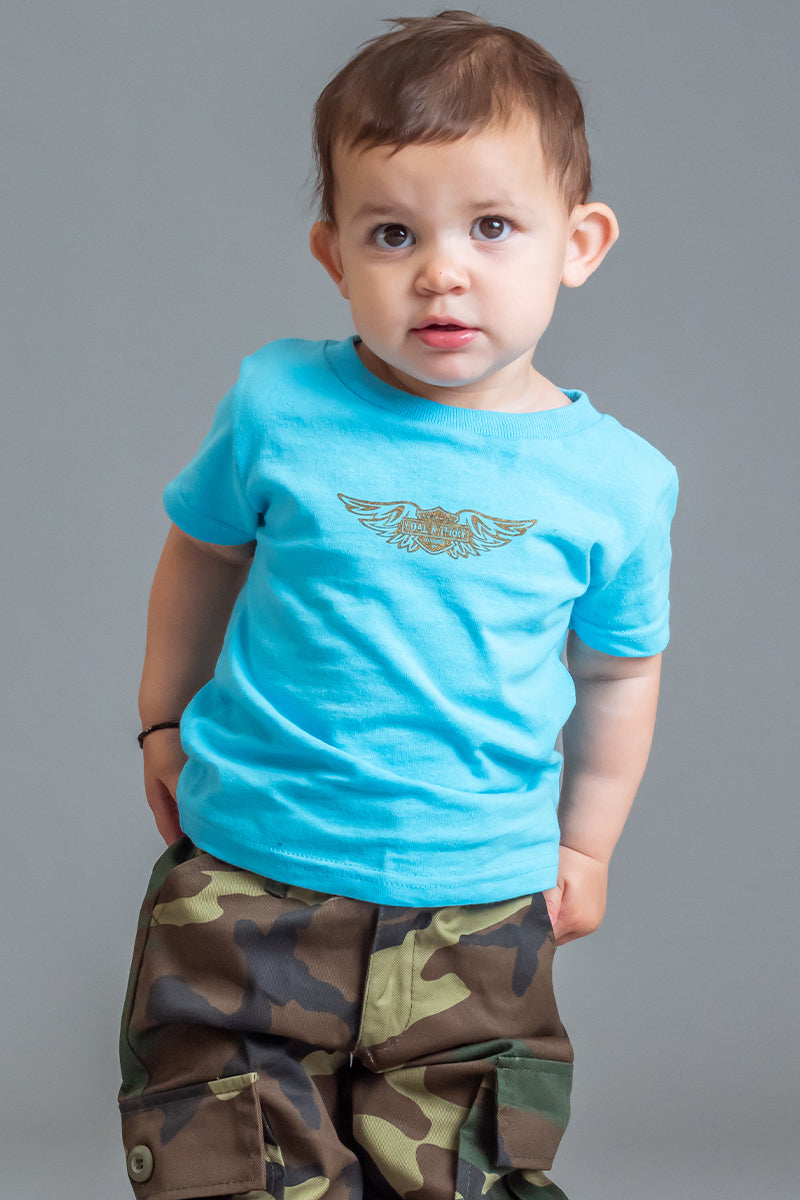 INFANT LIGHT BLUE N CHOCOLATE ANGELS CLUB TEE