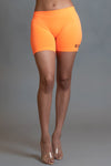 MINI MEDI BIKER SHORTS -  ORANGE N BLK